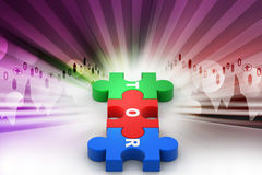 Puzzle piece with tor. In color background Royalty Free Stock Photos