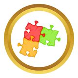 Puzzle piece vector icon. In golden circle, cartoon style isolated on white background Stock Image