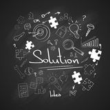 Puzzle Piece White Chalk Black Board Concept. Doodle Hand Draw Sketch Background Vector Illustration Stock Photos