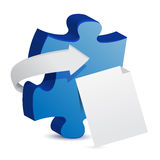 Puzzle piece and a white paper Stock Photos