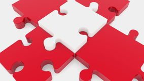 Puzzle piece in white on red color stock video footage