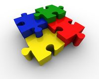 Puzzle pieces. Multicolored puzzle pieces in different height Stock Photo