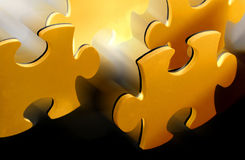 Puzzle pieces. Green, red and blue puzzle pieces Stock Images