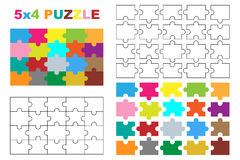 Puzzle pieces. 20 pieces puzzle, complete and individual pieces,colored and black and white version.Isolated on white background Stock Illustration