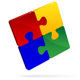 Puzzle Pieces. An illustration of a four colorful puzzle pieces locked together, symbolizing unity Stock Photos