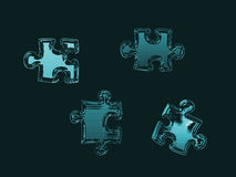 Puzzle pieces. Isolated on black royalty free stock image