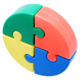 Puzzle pieces. Colorful puzzle pieces on a white background stock images