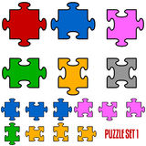 Puzzle Pieces. Set of six puzzle pieces in all the positions, isolated on white background. Useful for original designs or textures. Eps file available vector illustration