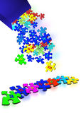 Puzzle pieces answers. A bunch of puzzle pieces fall from a blue box to spell out answers Royalty Free Stock Photos