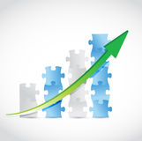 Puzzle pieces arrow graph illustration design Royalty Free Stock Photos