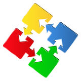 Puzzle pieces with arrows Royalty Free Stock Photography
