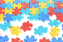 Puzzle Pieces in Autism Awareness Colors, 3D rendering Stock Image