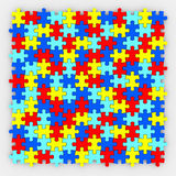 Puzzle Pieces Background Diverse Colors Fitting Together. Colored puzzle pieces fit together in a complete finished picture or background to illustrate harmony Stock Image