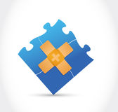 Puzzle pieces band aid fix solution concept Stock Photography