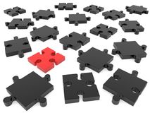 Puzzle pieces in black and red on white. In backgrounds Stock Photos