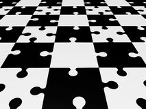 Puzzle pieces in black and white Stock Image