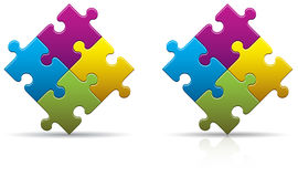 Puzzle Pieces Blank. Four colored puzzle pieces with a shadow and reflection Stock Photo