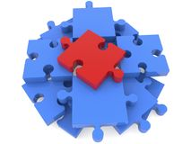 Puzzle pieces in blue with red one on top view. In backgrounds Vector Illustration