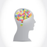 Puzzle pieces brain and head illustration design Stock Images
