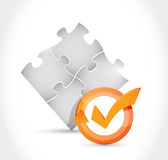 Puzzle pieces check mark cycle illustration Stock Photo