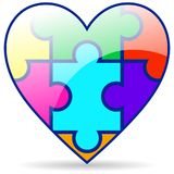 Puzzle pieces colorful heart on white. Vector illustration of colorful heart with puzzle pieces on background Stock Photography