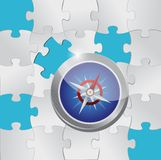 Puzzle pieces and compass illustration Stock Photography