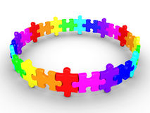 Puzzle pieces connected form a circle. 3d puzzle pieces are connected and form a circle Royalty Free Stock Photography