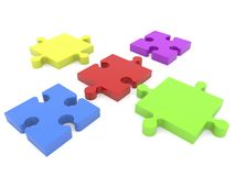 Puzzle pieces before connecting on white Royalty Free Stock Photos