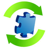 Puzzle pieces and cycle illustration design Royalty Free Stock Images