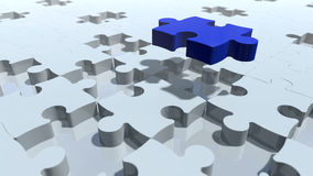 Puzzle pieces design in particles. 3D rendering. 3d rendering of puzzle pieces in particles. Dynamic modern white and blue game blocks on a bright background Stock Image