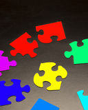 Puzzle Pieces with Different Shapes and Colors Stock Photo