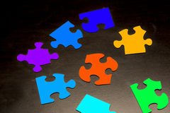 Puzzle Pieces with Different Shapes and Colors Stock Photography