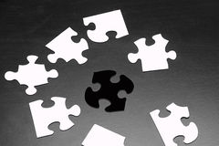 Puzzle Pieces with Different Shapes and Colors Royalty Free Stock Photography