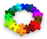 Puzzle pieces diversity concept. Different colored puzzle pieces are connected forming a circle Stock Photography