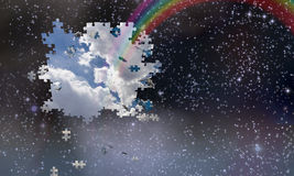 Puzzle pieces fall from night sky Stock Images
