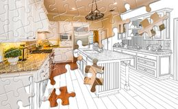 Free Puzzle Pieces Fitting Together Revealing Finished Kitchen Build Over Drawing Royalty Free Stock Images - 157147809