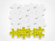 Puzzle pieces forming a block vector illustration graphic isolated on background. Minimalist design Stock Images
