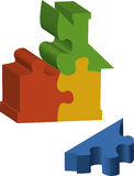 Puzzle pieces forming a house. An illustration of colourful puzzle pieces that for the shape of a house Stock Photo