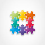 Puzzle pieces forming a square. Royalty Free Stock Photos