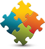 Puzzle Pieces. Four colored puzzle pieces with a shadow and reflection Stock Photos