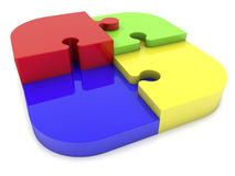 Puzzle pieces in four colors Royalty Free Stock Images