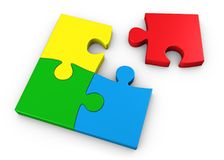 Jigsaw Puzzle Four Colorful Pieces Stock Photography