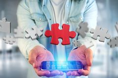 Puzzle pieces on a futuristic interface - 3d rendering. View of a Puzzle pieces on a futuristic interface - 3d rendering stock image