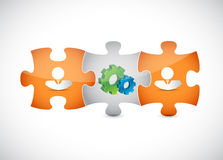 puzzle pieces gear and people illustration design Royalty Free Stock Image