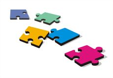Puzzle Pieces on the Ground. Colored puzzle pieces on white background. Large format full resolution Royalty Free Stock Image