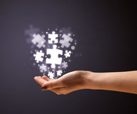 Puzzle pieces in the hand of a woman Royalty Free Stock Photography