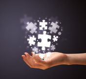 Puzzle pieces in the hand of a woman Stock Photography