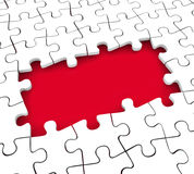 Puzzle Pieces Hole Background Missing Mystery Unsolved Unfinishe. Puzzle pieces hole background with copy space for your text or message to illustrate unsolved Royalty Free Stock Photos