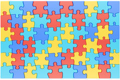 Puzzle Pieces In Autism Awareness Colors Background, 3D Rendering Stock Images