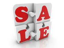 Puzzle pieces with inscription sale Royalty Free Stock Photo